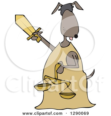 Clipart of a Blindfolded Lady Justice Dog Holding a Sword and Scales - Royalty Free Vector Illustration by djart