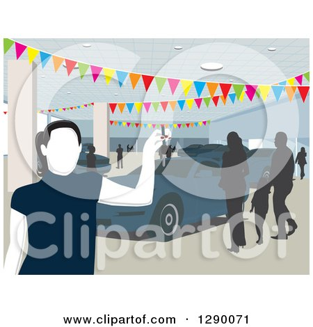 Clipart of a Faceless Female Car Salesman in a Busy Show Room - Royalty Free Vector Illustration by David Rey