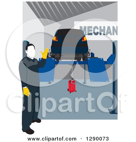 Clipart of a Faceless Male Mechanic Presenting a Car up on a Ramp Lift in a Repair Garage - Royalty Free Vector Illustration by David Rey