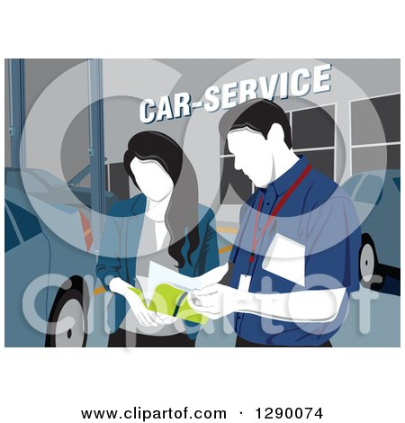 Clipart of a Faceless Male Technician Taking Notes with a Woman at a Car Service Station - Royalty Free Vector Illustration by David Rey
