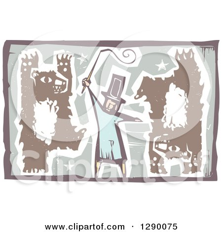 Clipart of a Woodcut Male Circus Ringmaster Holding a Whip While Bears Walk Upright and Do Handstands - Royalty Free Vector Illustration by xunantunich