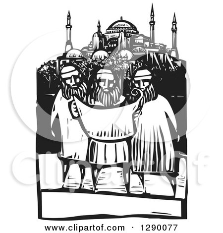 Clipart of a Black and White Woodcut Scen of Three Muslim Architects Viewing Blueprint Plans of a Mosque - Royalty Free Vector Illustration by xunantunich