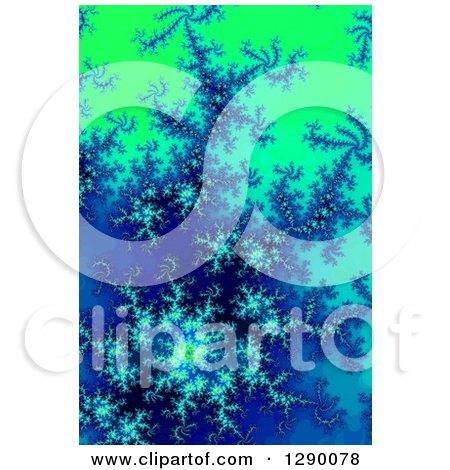 Clipart of a Blue and Green Fractal Background - Royalty Free Illustration by oboy
