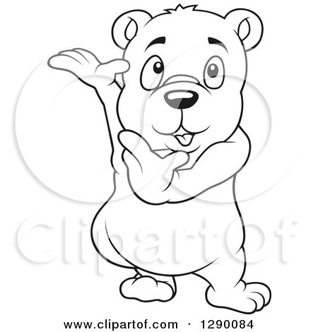 Clipart Of A Black And White Cute Presenting Bear