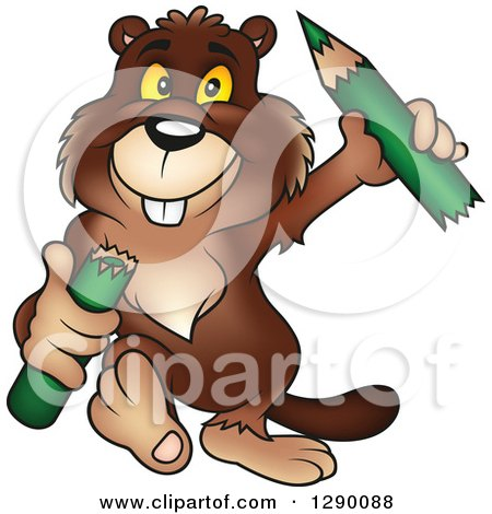 Clipart of a Happy Walking Beaver Carrying a Broken Green Pencil - Royalty Free Vector Illustration by dero