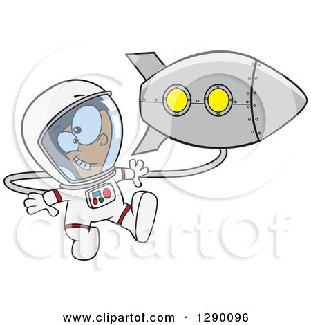 Cartoon Clipart of an Excited White Astronaut Boy Floating by a Rocket in Outer Space - Royalty Free Vector Illustration by toonaday