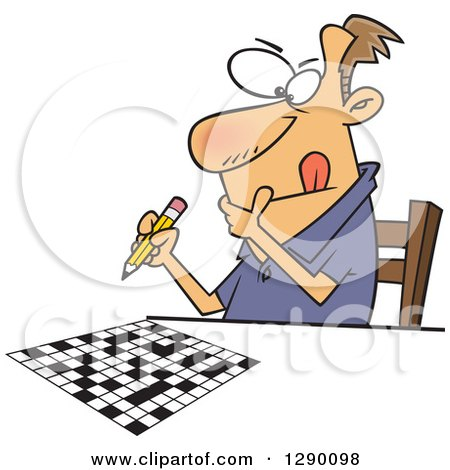 Cartoon Clipart of a Focused Caucasian Man Working on a Crossword Puzzle - Royalty Free Vector Illustration by toonaday