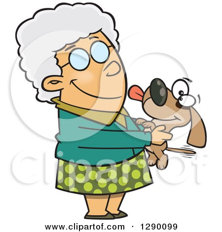Cartoon Clipart of a Happy Caucasian Granny Senior Woman Holding a Dog - Royalty Free Vector Illustration by toonaday