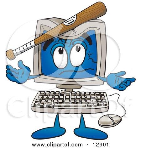 Desktop Computer Mascot Cartoon Character With a Baseball Bat Crashing its Screen Posters, Art Prints