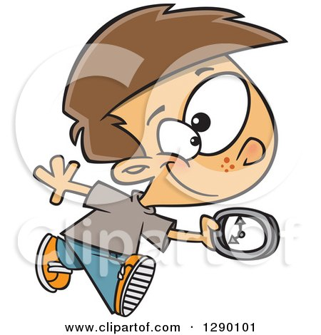 Cartoon Clipart of a Happy on Time Caucasian Boy Running with a Clock - Royalty Free Vector Illustration by toonaday