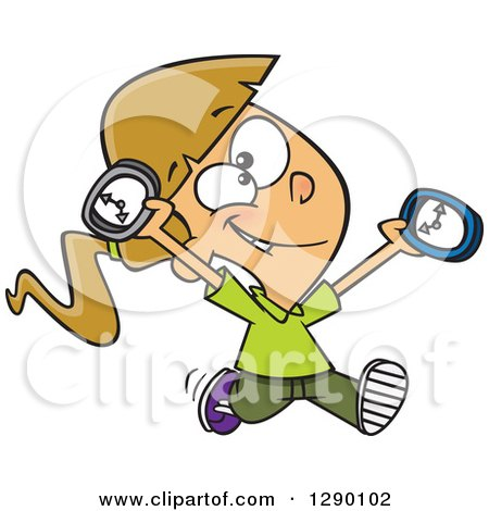 Cartoon Clipart of a Happy on Time Caucasian Girl Running with Clocks - Royalty Free Vector Illustration by toonaday
