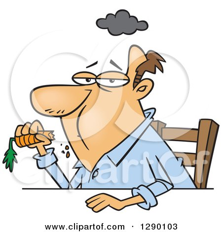 Cartoon Clipart of an Unhappy Dieting Caucasian Man Eating a Carrot - Royalty Free Vector Illustration by toonaday
