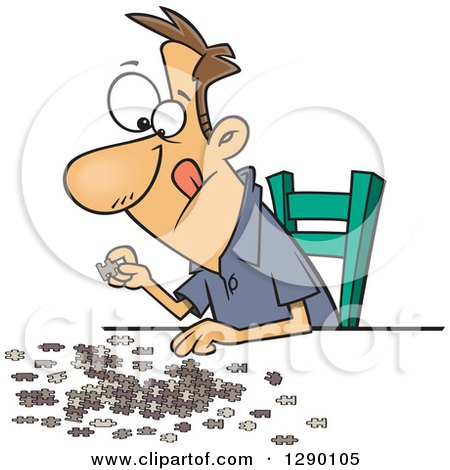 Cartoon Clipart of a Focused Caucasian Man Working on a ...