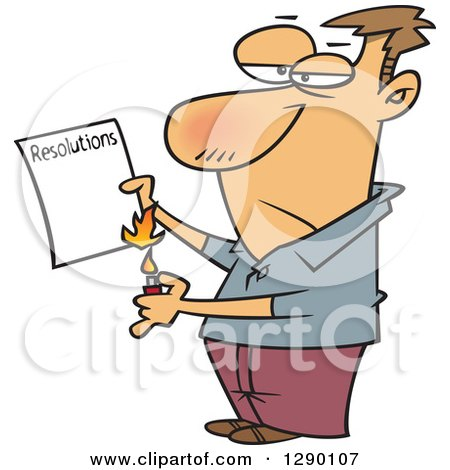 Cartoon Clipart of a Caucasian Man Burning His List of Failed Resolutions - Royalty Free Vector Illustration by toonaday