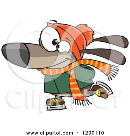 Cartoon Clipart of a Happy Brown Dog Ice Skating - Royalty Free Vector Illustration by toonaday
