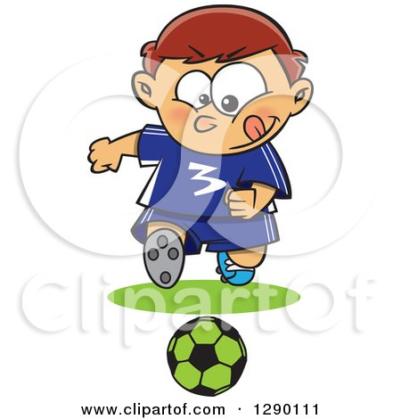 Cartoon Clipart of a Focused Sporty Caucasian Boy Playing Soccer - Royalty Free Vector Illustration by toonaday