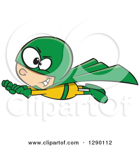 Cartoon Clipart of a Caucasian Super Hero Boy in Flight, in a Yellow and Green Suit - Royalty Free Vector Illustration by toonaday