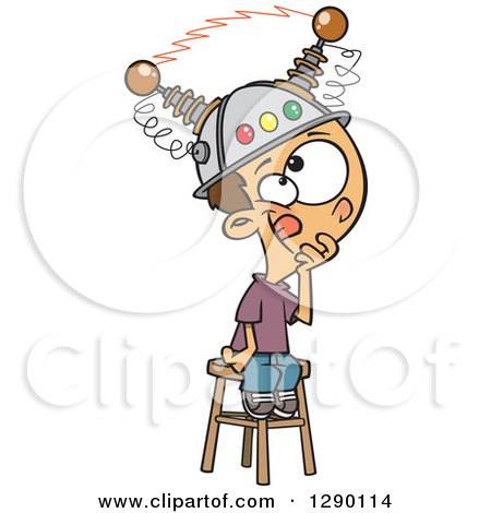 Cartoon Clipart of a Caucasian Boy Sitting on a Stool with a Thinking Cap on - Royalty Free Vector Illustration by toonaday