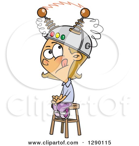 Cartoon Clipart of a Caucasian Girl Sitting on a Stool with a Thinking Cap on - Royalty Free Vector Illustration by toonaday