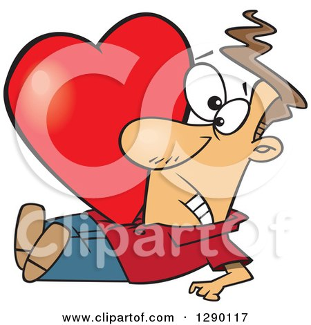 Cartoon Clipart of a Big Red Valentine Heart Crushing a Caucasian Man - Royalty Free Vector Illustration by toonaday