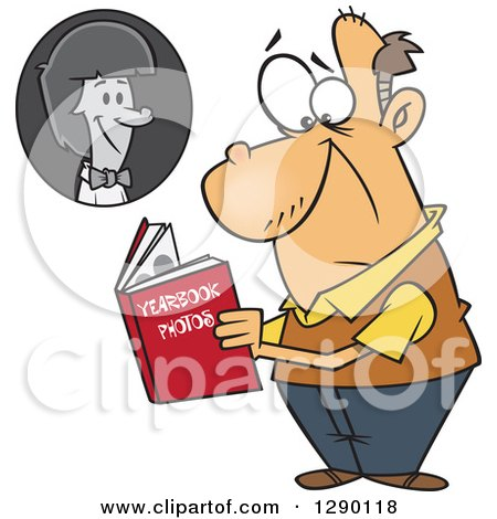 Cartoon Clipart of a Sad Senior Caucasian Man Viewing His Portrait in His High School Yearbook - Royalty Free Vector Illustration by toonaday