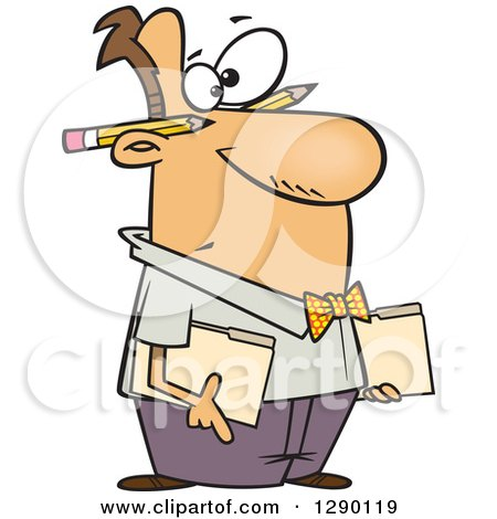 Cartoon Clipart of a Caucasian Male Accountant Holding Folders, with Pencils Behind His Ears - Royalty Free Vector Illustration by toonaday