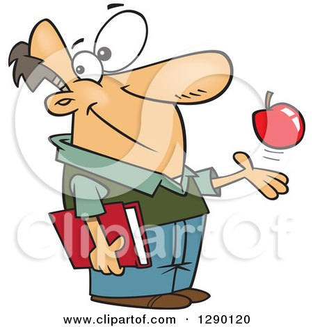 Cartoon Clipart of a Happy Caucasian Male Teacher Playing with an Apple and Holding a Book - Royalty Free Vector Illustration by toonaday
