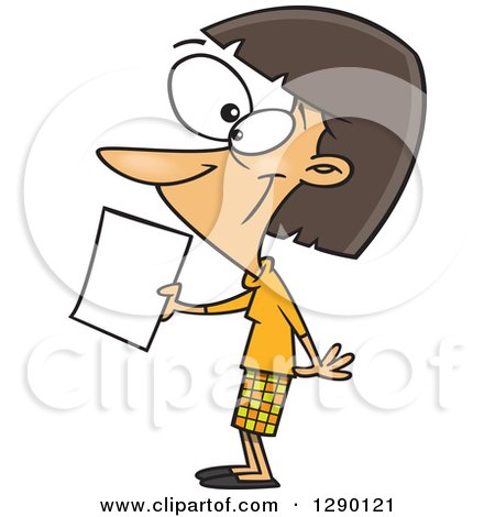 Cartoon Clipart of a Happy Caucasian Woman Submitting an Application or Article - Royalty Free Vector Illustration by toonaday