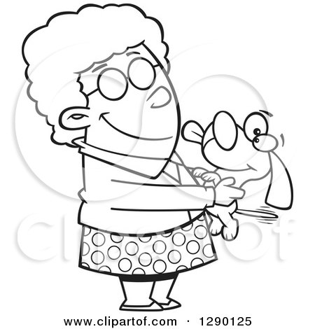 Cartoon Clipart of a Black and White Granny Senior Woman Holding a Dog - Royalty Free Vector Line Art Illustration by toonaday