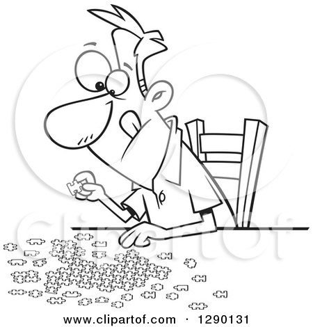 Cartoon Clipart Of A Black And White Focused Man Working On Jigsaw Puzzle
