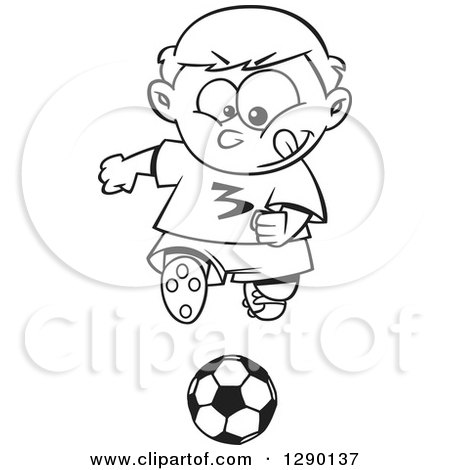Cartoon Clipart of a Black and White Focused Sporty Boy Playing Soccer - Royalty Free Vector Line Art Illustration by toonaday