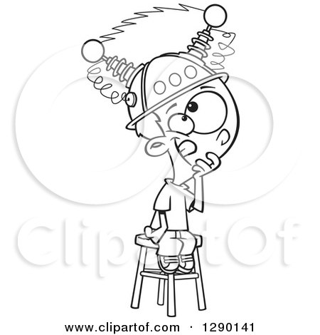 Cartoon Clipart of a Black and White Boy Sitting on a Stool with a Thinking Cap on - Royalty Free Vector Line Art Illustration by toonaday