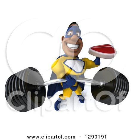 Clipart of a 3d Muscular Black Male Super Hero in a Yellow and Blue Suit, Holding up a Barbell and a Beef Steak - Royalty Free Illustration by Julos