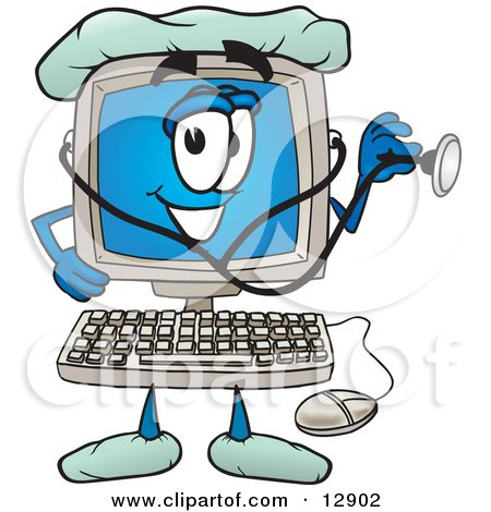 Desktop Computer Mascot Cartoon Character Doctor Holding a Stethoscope Posters, Art Prints