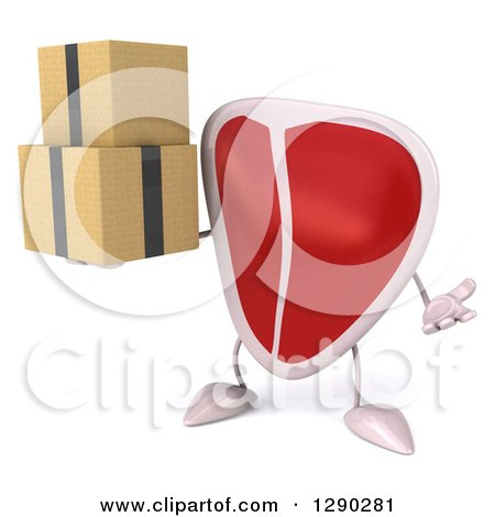 Clipart of a 3d Beef Steak Character Shrugging and Holding Boxes - Royalty Free Illustration by Julos