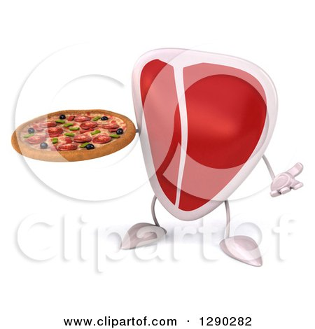 Clipart of a 3d Beef Steak Character Shrugging and Holding a Pizza - Royalty Free Illustration by Julos