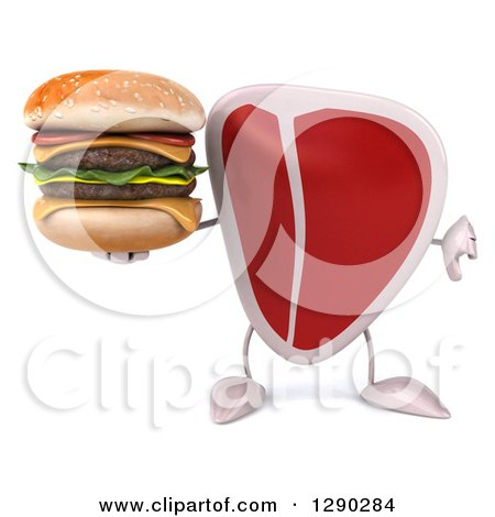 Clipart of a 3d Beef Steak Character Holding a Thumb down and a Double Cheeseburger - Royalty Free Illustration by Julos