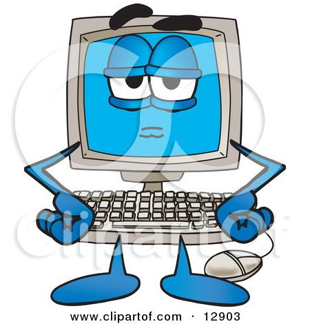 Clipart Picture of a Bored or Stern Desktop Computer Mascot Cartoon Character by Toons4Biz