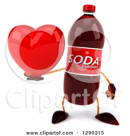 Clipart of a 3d Soda Bottle Character Holding a Heart - Royalty Free Illustration by Julos