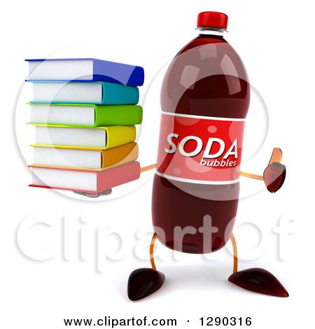 Clipart of a 3d Soda Bottle Character Holding a Thumb up and a Stack of Books - Royalty Free Illustration by Julos