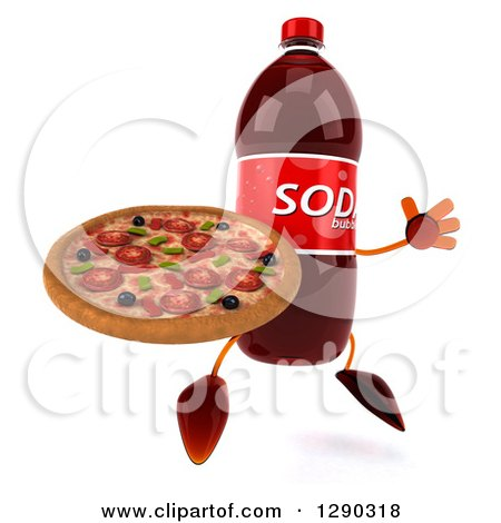 Clipart of a 3d Soda Bottle Character Facing Slightly Right, Jumping and Holding a Pizza - Royalty Free Illustration by Julos