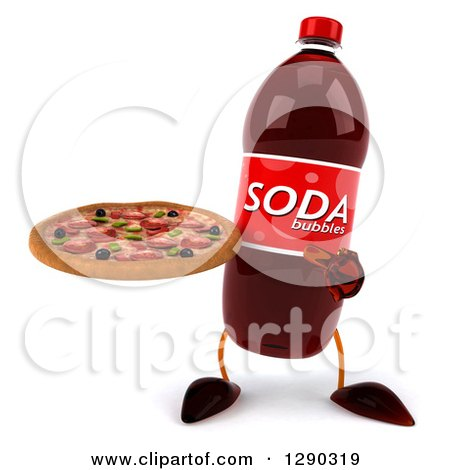 Clipart Of A 3d Soda Bottle Character Holding And Pointing To A Pizza Royalty Free Illustration