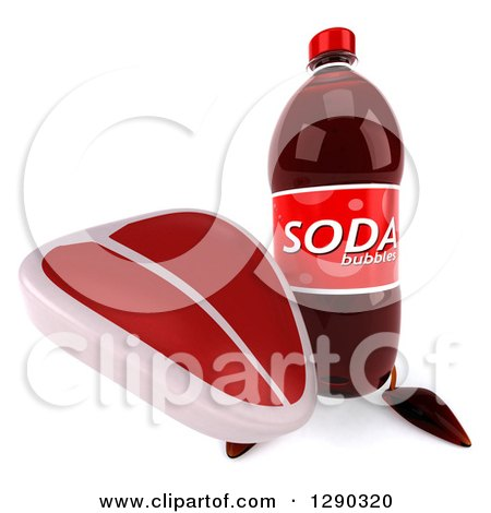 Clipart of a 3d Soda Bottle Character Holding up a Beef Steak - Royalty Free Illustration by Julos