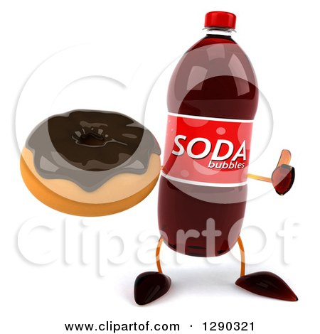 Clipart of a 3d Soda Bottle Character Holding a Thumb up and a Chocolate Frosted Donut - Royalty Free Illustration by Julos