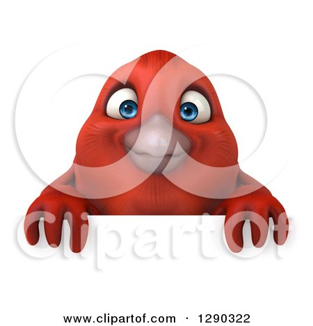 Clipart of a 3d Red Bird over a Sign - Royalty Free Illustration by Julos