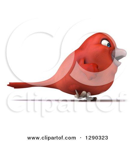 Clipart of a 3d Red Bird Walking to the Right - Royalty Free Illustration by Julos