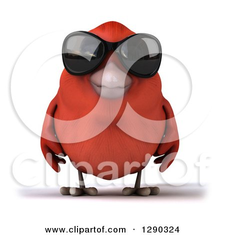 Clipart of a 3d Red Bird Wearing Shades - Royalty Free Illustration by Julos