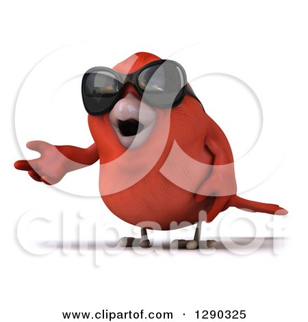 Clipart of a 3d Red Bird Wearing Shades and Presenting - Royalty Free Illustration by Julos