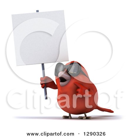Clipart of a 3d Red Bird Wearing Shades, Holding and Pointing to a Blank Sign - Royalty Free Illustration by Julos