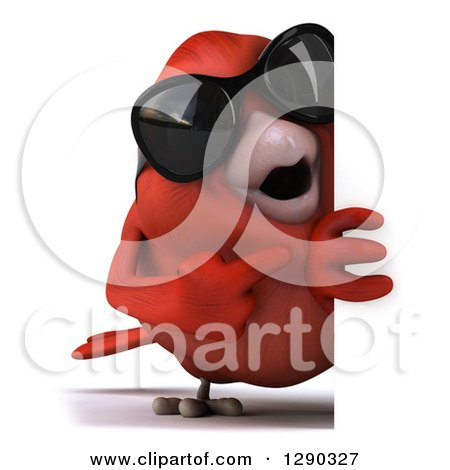 Clipart of a 3d Full Length Red Bird Wearing Shades and Pointing Around a Sign - Royalty Free Illustration by Julos